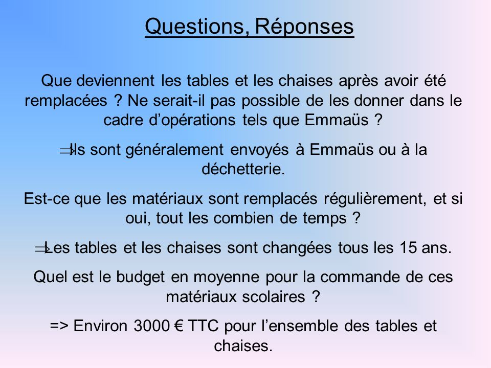 Questions, Réponses Que deviennent les tables et les chaises après avoir été remplacées ? Ne serait-il pas possible de les donner dans le cadre dopéra