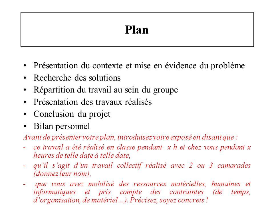 Plan Présentation du contexte et mise en évidence du problème Recherche des solutions Répartition du travail au sein du groupe Présentation des travau