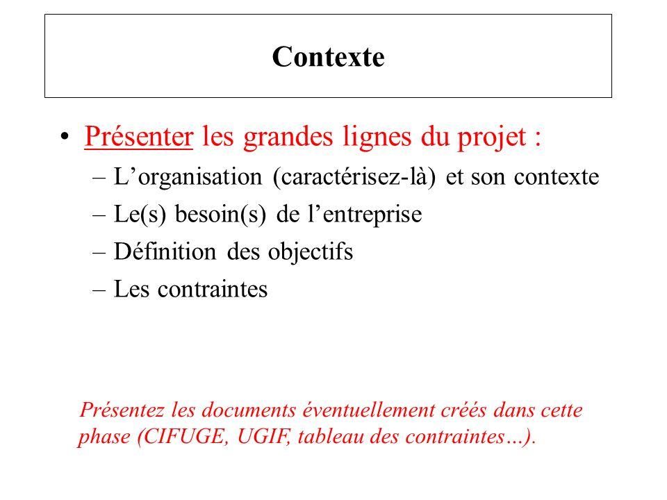 Présenter les grandes lignes du projet : –Lorganisation (caractérisez-là) et son contexte –Le(s) besoin(s) de lentreprise –Définition des objectifs –L