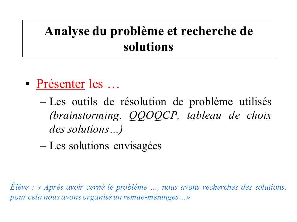Présenter les … –Les outils de résolution de problème utilisés (brainstorming, QQOQCP, tableau de choix des solutions…) –Les solutions envisagées Anal