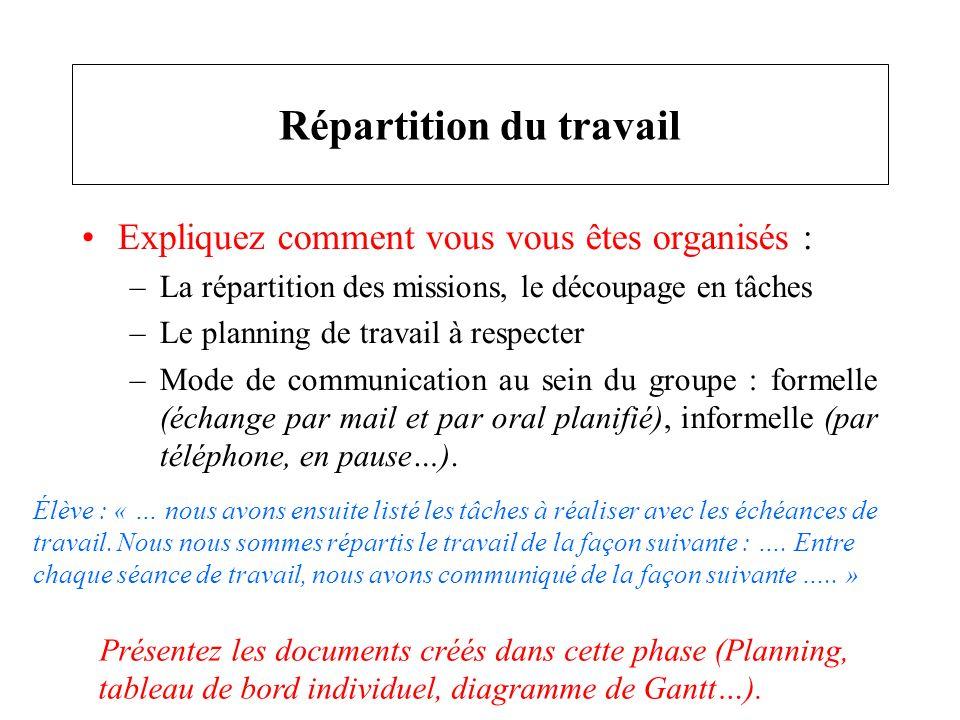 Expliquez comment vous vous êtes organisés : –La répartition des missions, le découpage en tâches –Le planning de travail à respecter –Mode de communi