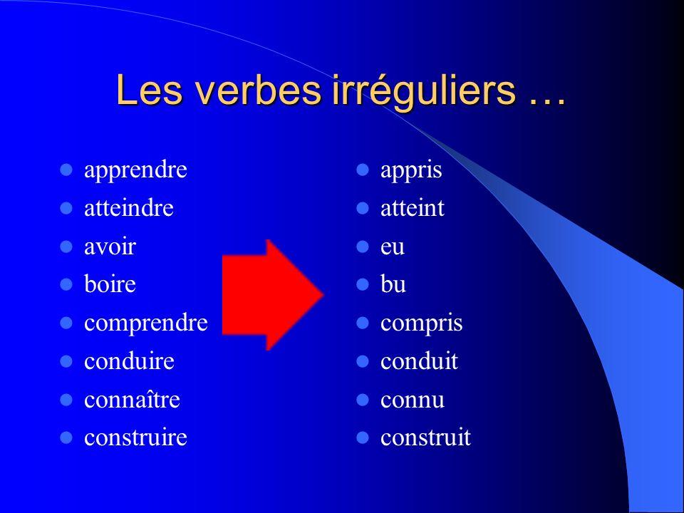 Conjuguez les verbes au passé composé … PARTIR Je _________ Tu _________ Il _________ Nous ___________ Vous _________ Elles _________ MANGER J _______