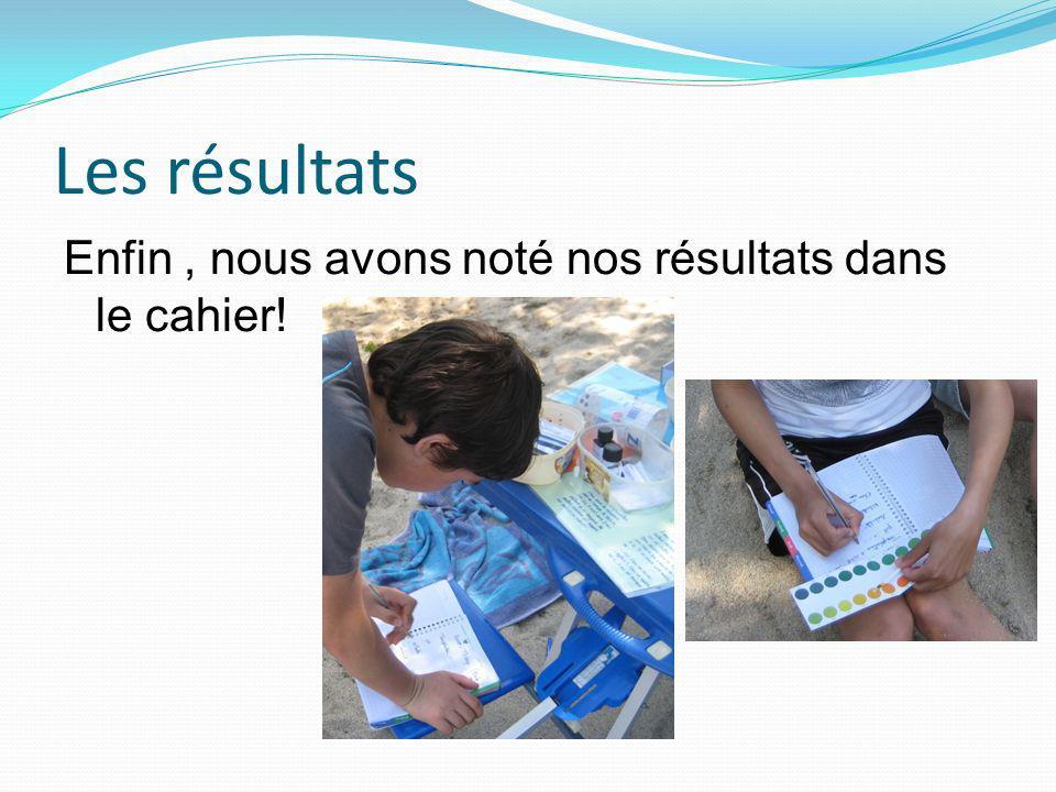 Les résultats Enfin, nous avons noté nos résultats dans le cahier!
