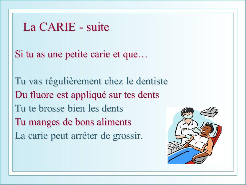 La CARIE - suite Si tu as une petite carie et que… Tu vas régulièrement chez le dentiste Du fluore est appliqué sur tes dents Tu te brosse bien les de