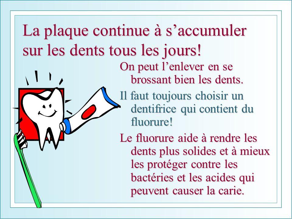 La plaque continue à saccumuler sur les dents tous les jours! On peut lenlever en se brossant bien les dents. Il faut toujours choisir un dentifrice q