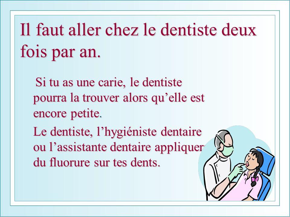 Il faut aller chez le dentiste deux fois par an. Si tu as une carie, le dentiste pourra la trouver alors quelle est encore petite. Si tu as une carie,