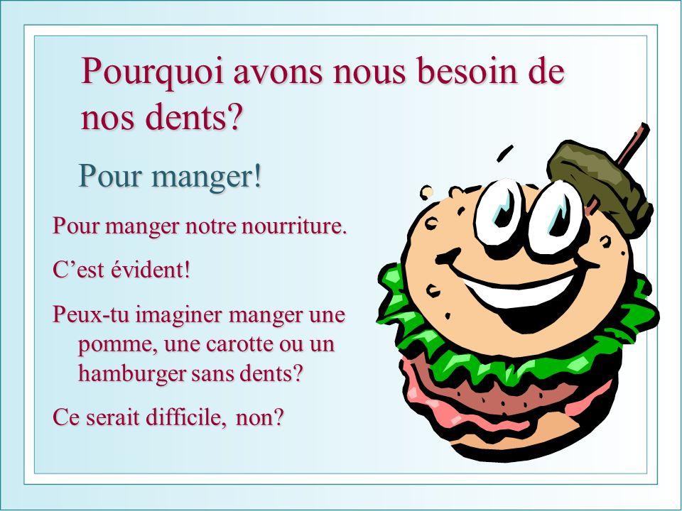 Pourquoi avons nous besoin de nos dents? Pour manger! Pour manger notre nourriture. Cest évident! Peux-tu imaginer manger une pomme, une carotte ou un