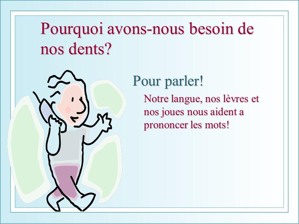 Pourquoi avons-nous besoin de nos dents? Pour parler! Notre langue, nos lèvres et nos joues nous aident a prononcer les mots!