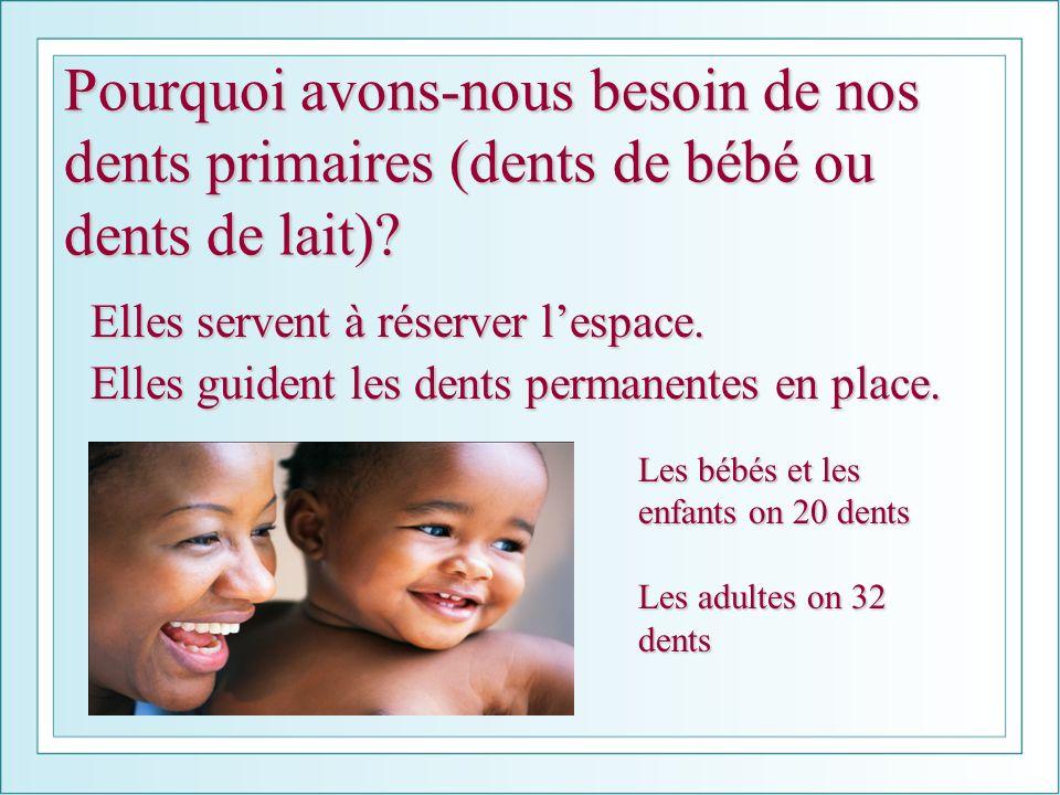 Pourquoi avons-nous besoin de nos dents primaires (dents de bébé ou dents de lait)? Elles servent à réserver lespace. Elles guident les dents permanen