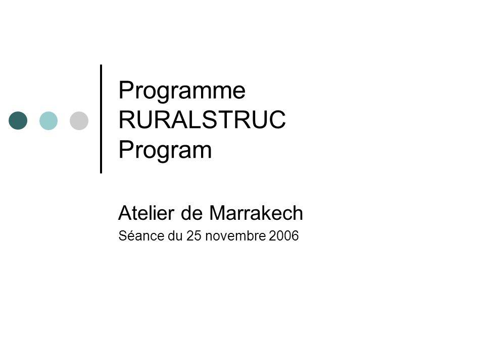 Programme RURALSTRUC Program Atelier de Marrakech Séance du 25 novembre 2006