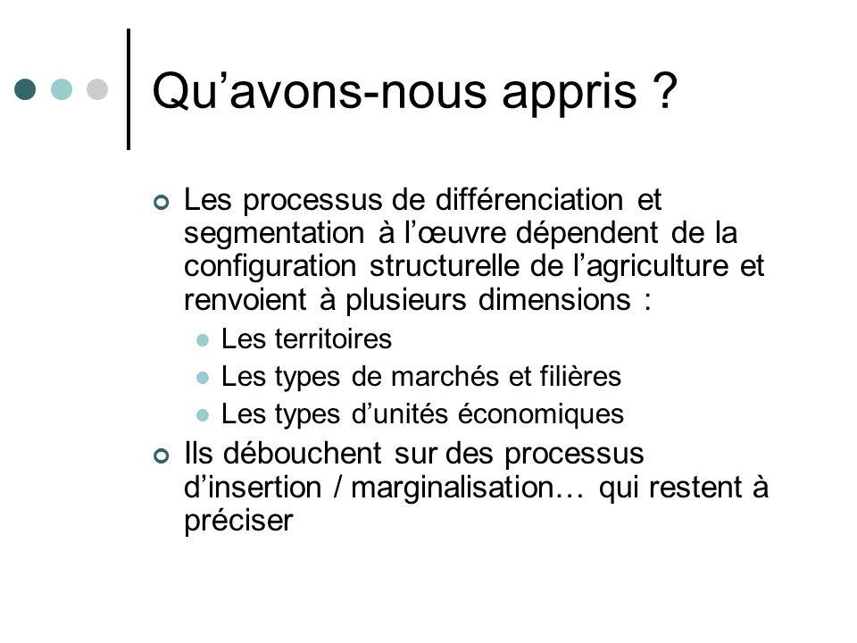 Quavons-nous appris ? Les processus de différenciation et segmentation à lœuvre dépendent de la configuration structurelle de lagriculture et renvoien