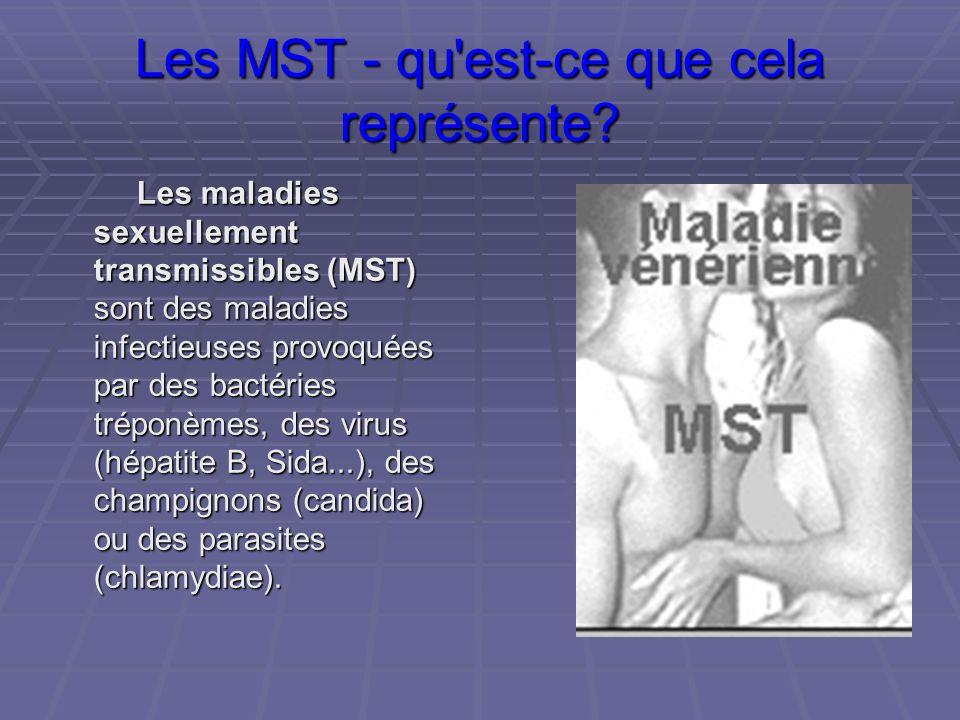 Les MST - qu'est-ce que cela représente? Les maladies sexuellement transmissibles (MST) sont des maladies infectieuses provoquées par des bactéries tr