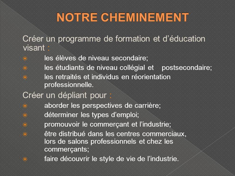 Créer un programme de formation et déducation visant : les élèves de niveau secondaire; les étudiants de niveau collégial et postsecondaire; les retraités et individus en réorientation professionnelle.