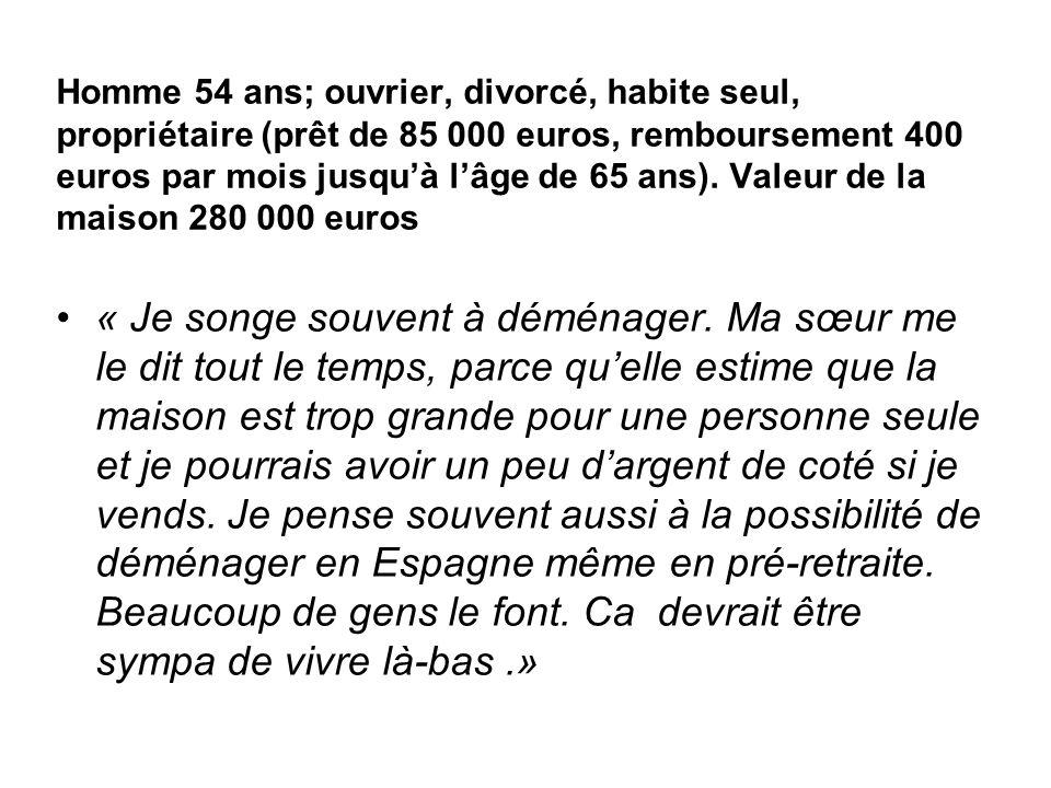 Homme 54 ans; ouvrier, divorcé, habite seul, propriétaire (prêt de 85 000 euros, remboursement 400 euros par mois jusquà lâge de 65 ans). Valeur de la