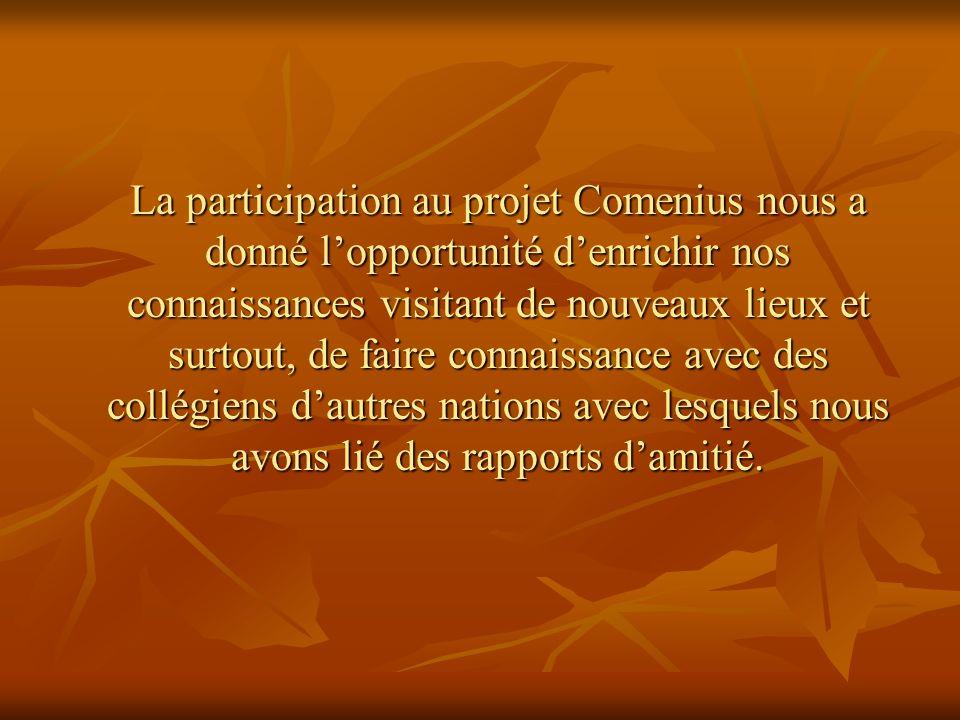 La participation au projet Comenius nous a donné lopportunité denrichir nos connaissances visitant de nouveaux lieux et surtout, de faire connaissance avec des collégiens dautres nations avec lesquels nous avons lié des rapports damitié.