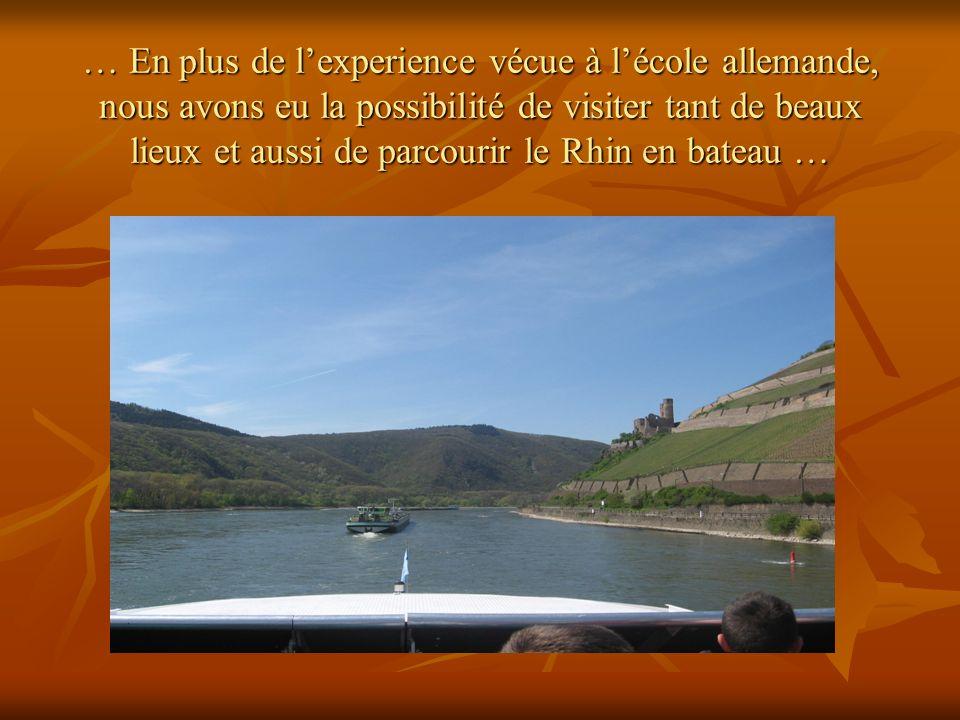 … En plus de lexperience vécue à lécole allemande, nous avons eu la possibilité de visiter tant de beaux lieux et aussi de parcourir le Rhin en bateau …