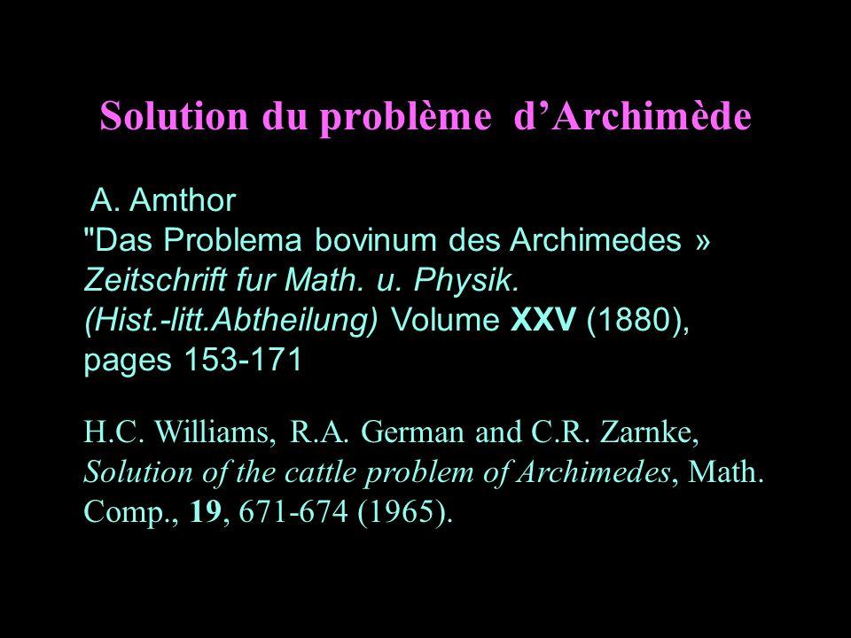 Solution du problème dArchimède A. Amthor