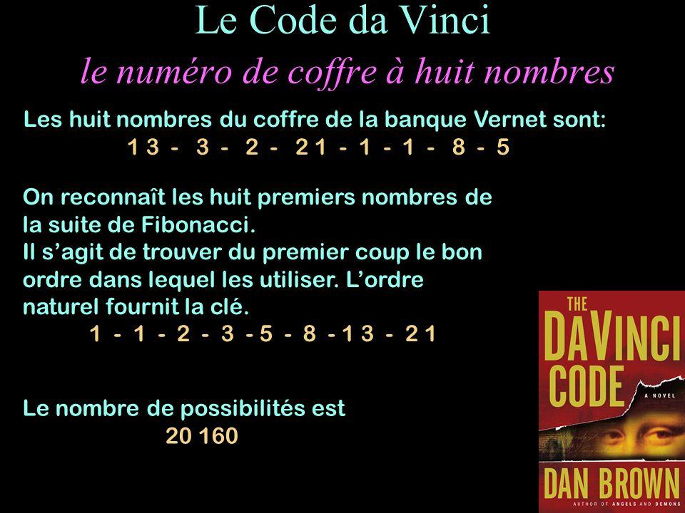 Le Code da Vinci le numéro de coffre à huit nombres On reconnaît les huit premiers nombres de la suite de Fibonacci. Il sagit de trouver du premier co