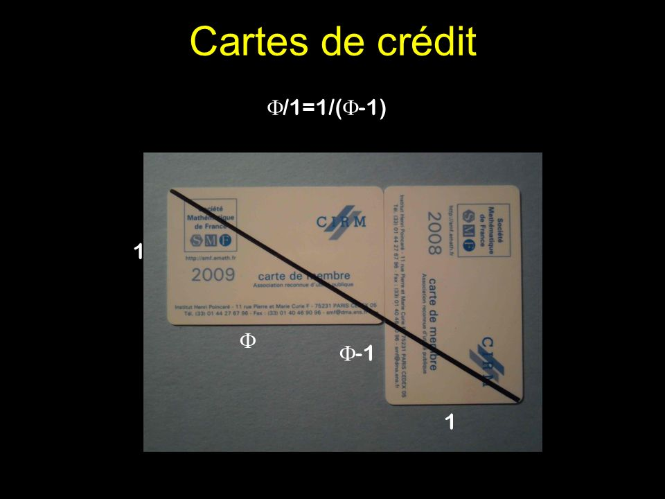Cartes de crédit 1 1 /1=1/( -1)