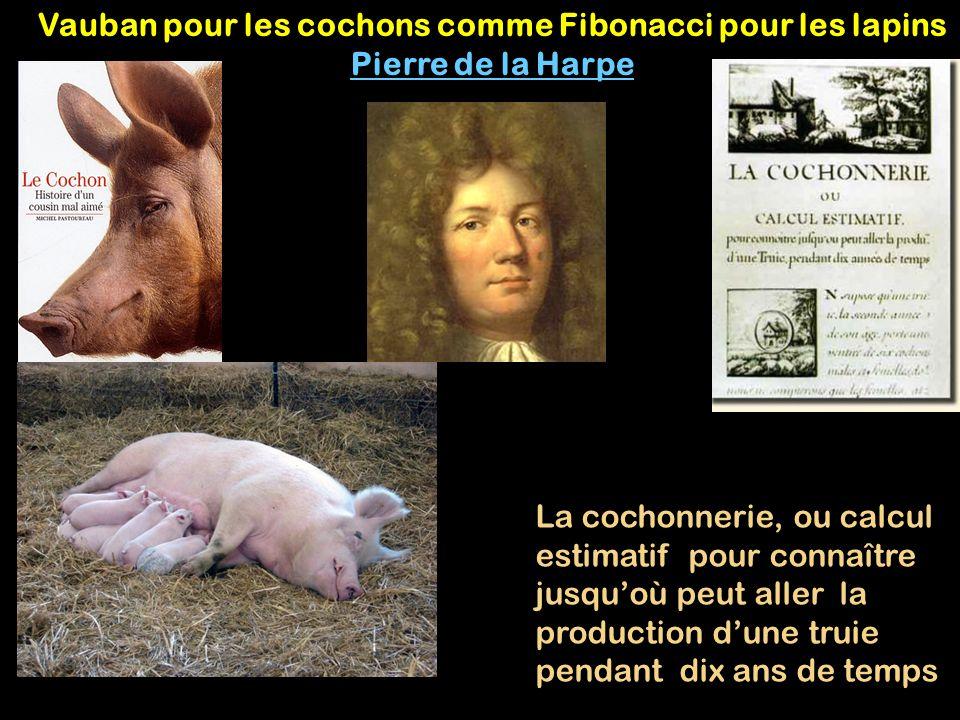 Vauban pour les cochons comme Fibonacci pour les lapins Pierre de la Harpe La cochonnerie, ou calcul estimatif pour connaître jusquoù peut aller la pr