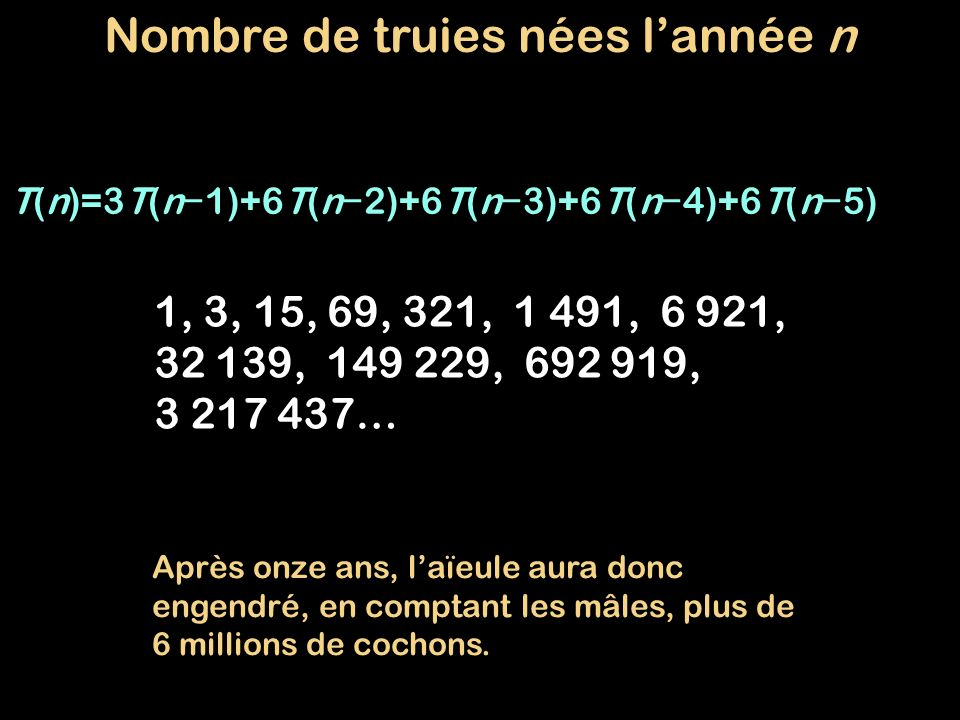 T(n)=3T(n 1)+6T(n 2)+6T(n 3)+6T(n 4)+6T(n 5) 1, 3, 15, 69, 321, 1 491, 6 921, 32 139, 149 229, 692 919, 3 217 437… Nombre de truies nées lannée n Aprè