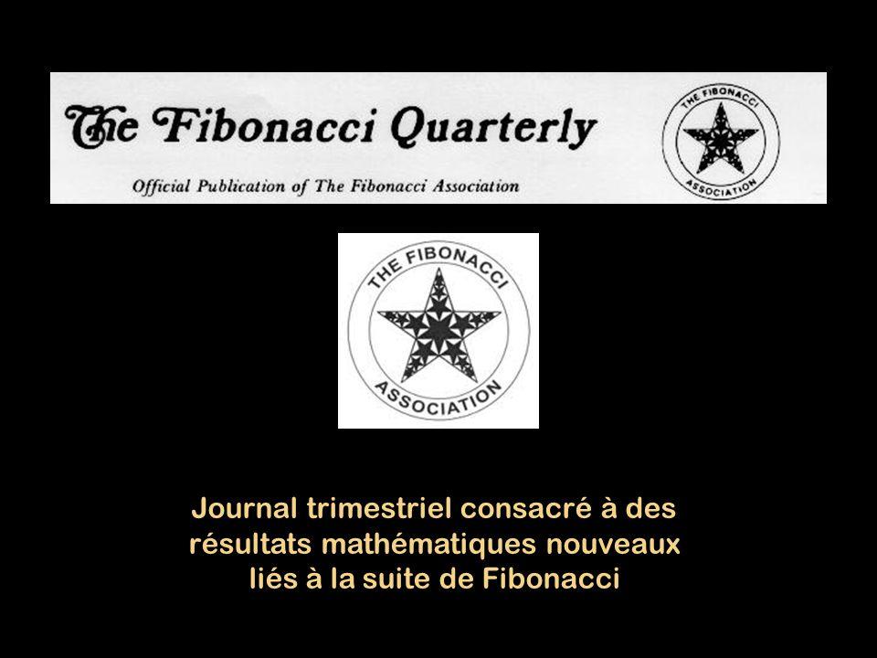 Journal trimestriel consacré à des résultats mathématiques nouveaux liés à la suite de Fibonacci