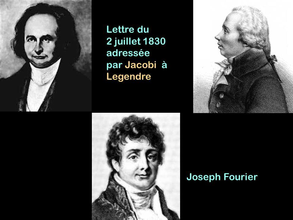 Joseph Fourier Lettre du 2 juillet 1830 adressée par Jacobi à Legendre
