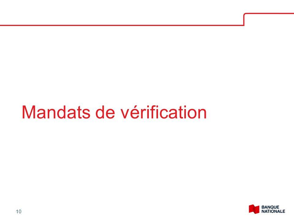 Mandats de vérification 10