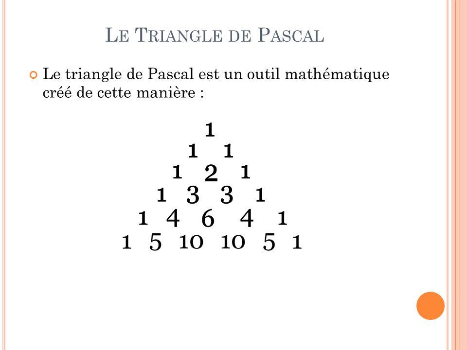 Pour retrouver les nombres de la suite de Fibonacci dans le triangle de Pascal, il faut faire la somme des chiffres de la diagonale ascendante du triangle.