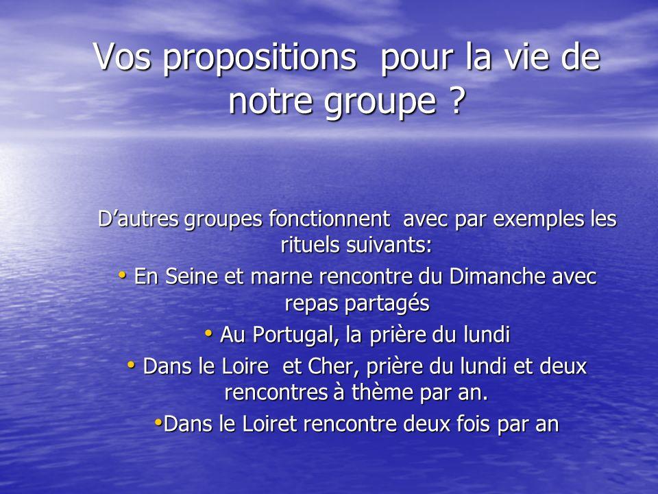 Vos propositions pour la vie de notre groupe ? Dautres groupes fonctionnent avec par exemples les rituels suivants: En Seine et marne rencontre du Dim