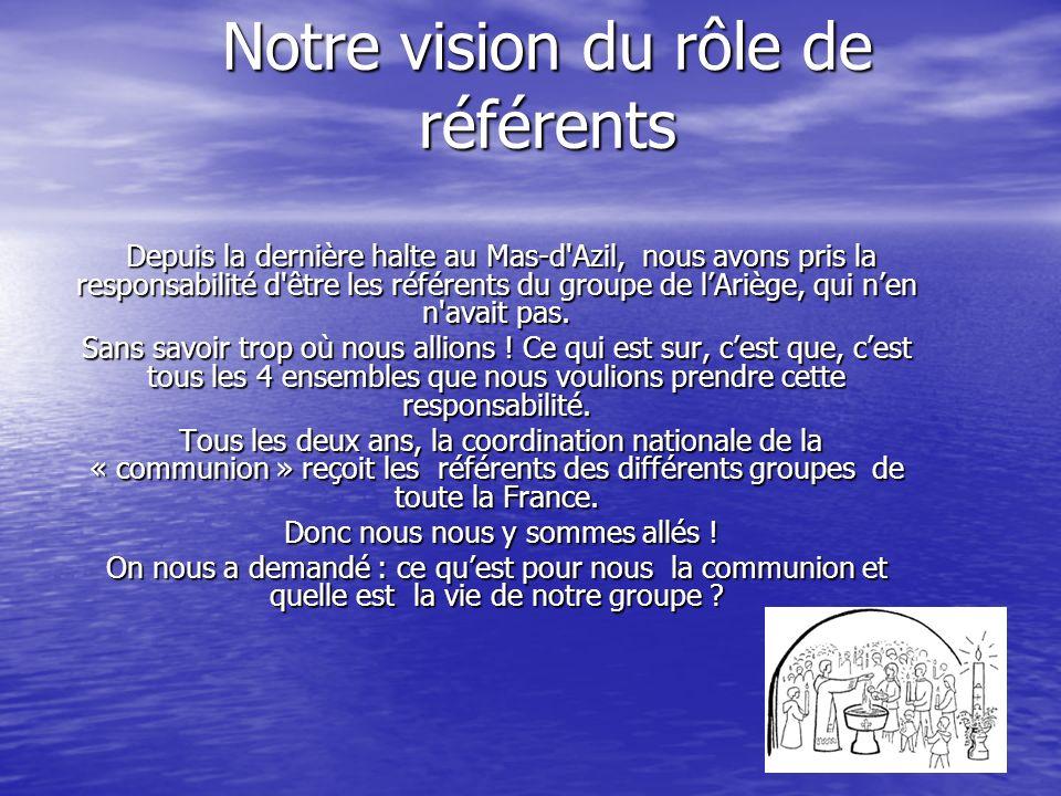 Notre vision du rôle de référents Depuis la dernière halte au Mas-d Azil, nous avons pris la responsabilité d être les référents du groupe de lAriège, qui nen n avait pas.
