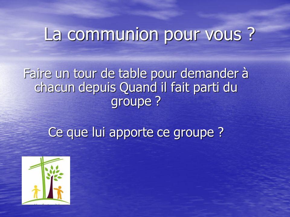 La communion pour vous ? Faire un tour de table pour demander à chacun depuis Quand il fait parti du groupe ? Ce que lui apporte ce groupe ? Ce que lu
