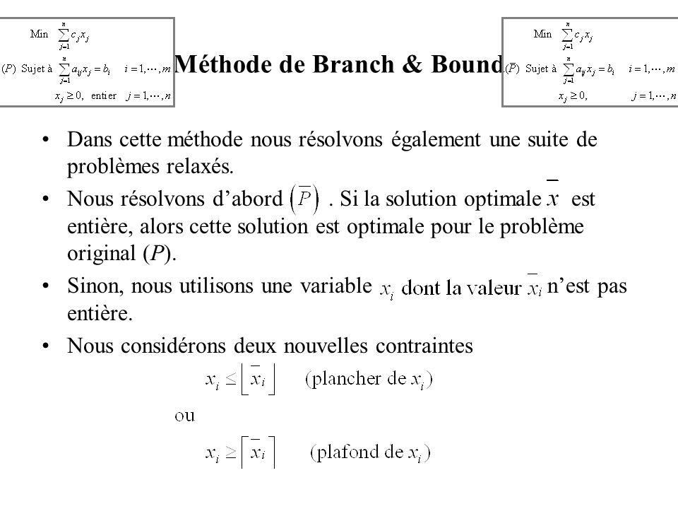 Méthode de Branch & Bound Dans cette méthode nous résolvons également une suite de problèmes relaxés. Nous résolvons dabord. Si la solution optimale e