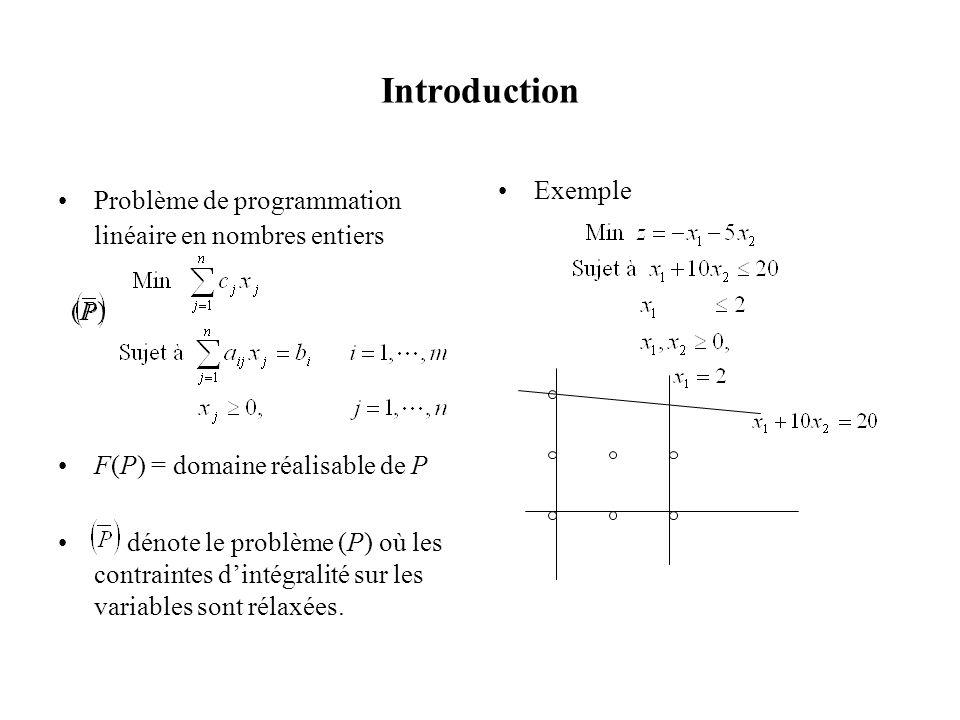 Introduction Problème de programmation linéaire en nombres entiers (P) F(P) = domaine réalisable de P dénote le problème (P) où les contraintes dintég