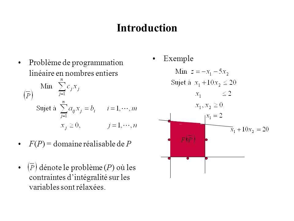 Introduction Problème de programmation linéaire en nombres entiers F(P) = domaine réalisable de P dénote le problème (P) où les contraintes dintégrali