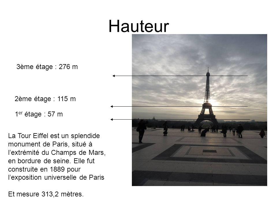 Hauteur La Tour Eiffel est un splendide monument de Paris, situé à lextrémité du Champs de Mars, en bordure de seine. Elle fut construite en 1889 pour
