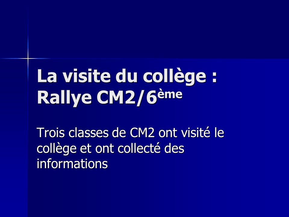 La visite du collège : Rallye CM2/6 ème Trois classes de CM2 ont visité le collège et ont collecté des informations