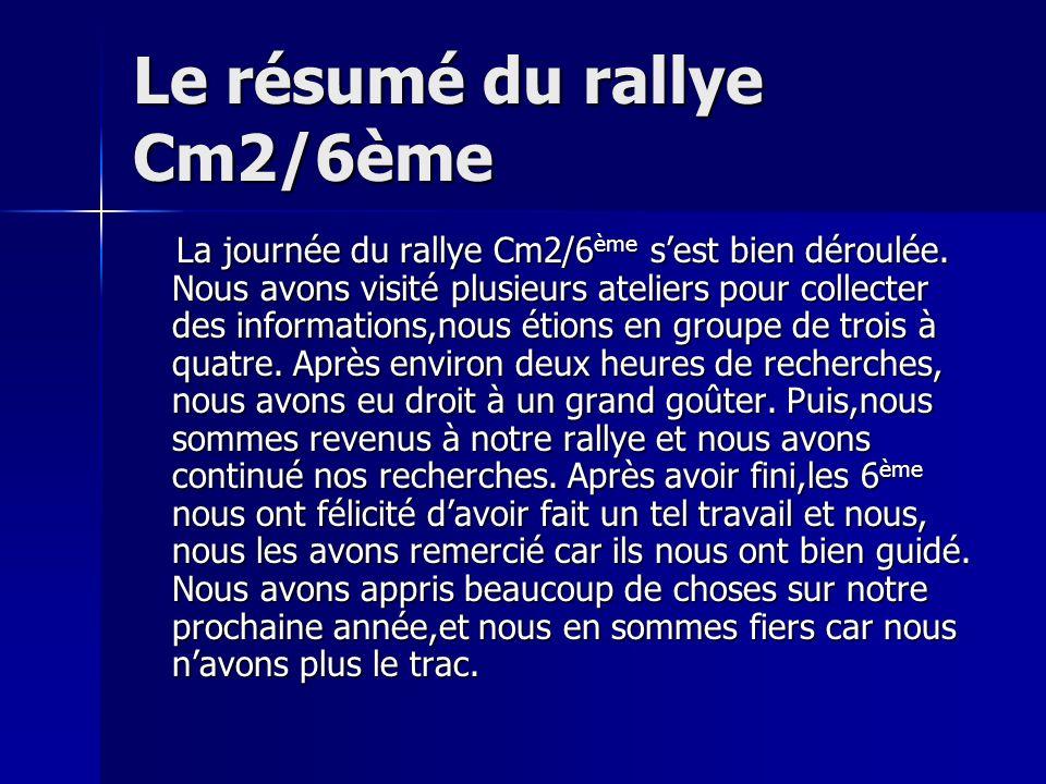 Le résumé du rallye Cm2/6ème La journée du rallye Cm2/6 ème sest bien déroulée. Nous avons visité plusieurs ateliers pour collecter des informations,n