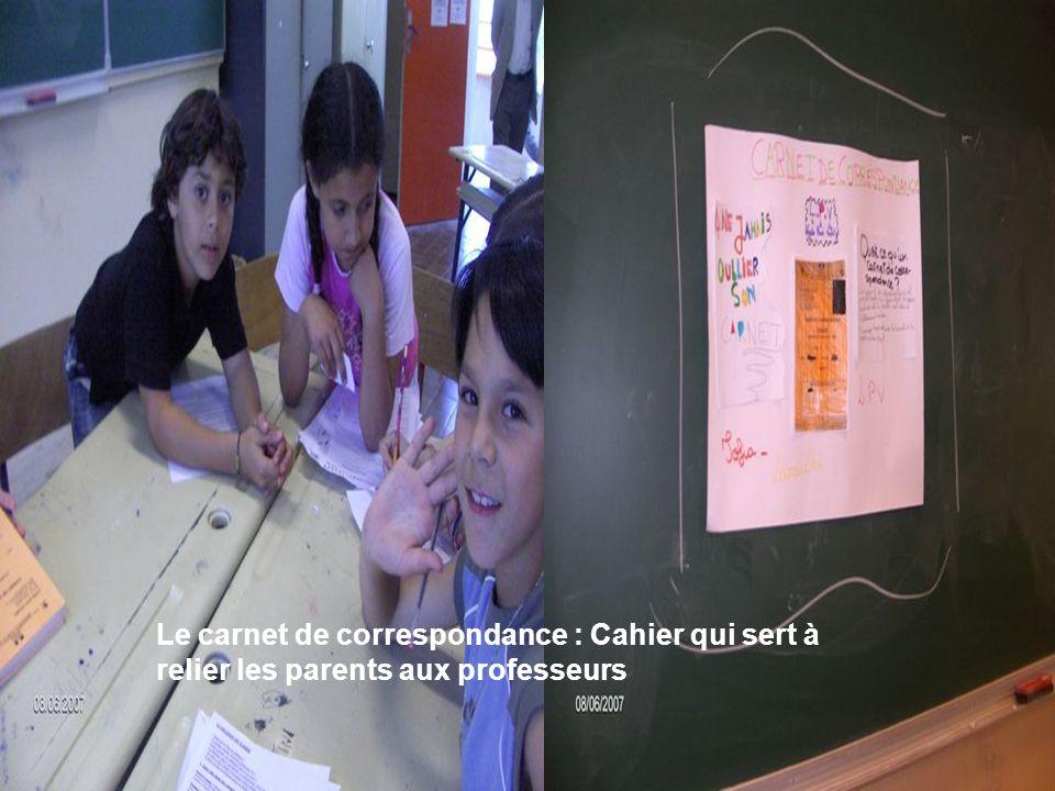 Voici latelier le carnet de correspondance Le carnet de correspondance : Cahier qui sert à relier les parents aux professeurs