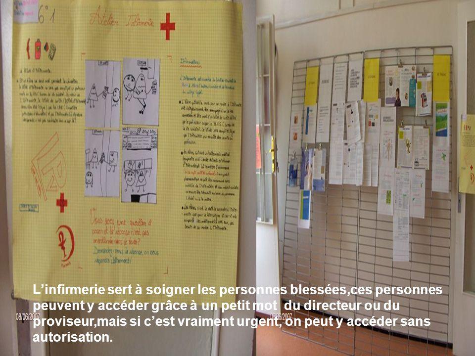 Linfirmerie sert à soigner les personnes blessées,ces personnes peuvent y accéder grâce à un petit mot du directeur ou du proviseur,mais si cest vraim