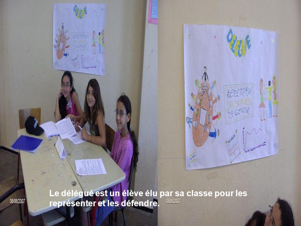 Les élèves si-dessous nous ont expliqué les fonctions de délégué Le délégué est un élève élu par sa classe pour les représenter et les défendre.