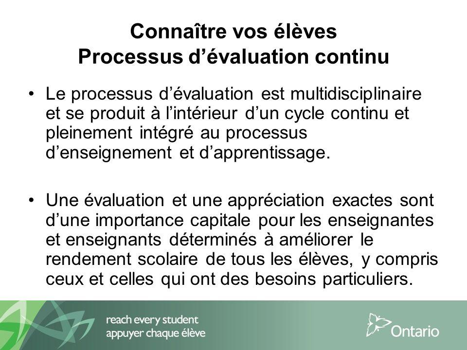Connaître vos élèves Processus dévaluation continu Le processus dévaluation est multidisciplinaire et se produit à lintérieur dun cycle continu et pleinement intégré au processus denseignement et dapprentissage.