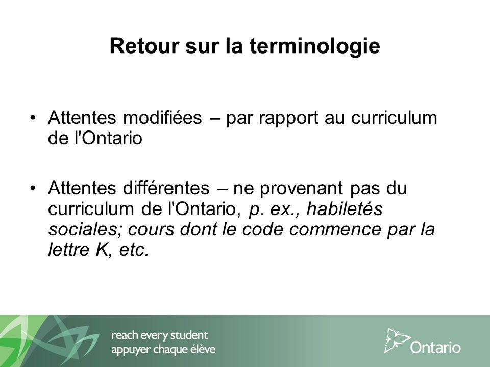 Retour sur la terminologie Attentes modifiées – par rapport au curriculum de l Ontario Attentes différentes – ne provenant pas du curriculum de l Ontario, p.