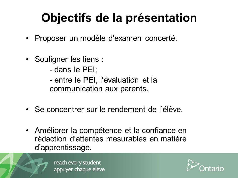 Objectifs de la présentation Proposer un modèle dexamen concerté.