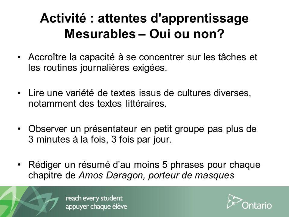 Activité : attentes d apprentissage Mesurables – Oui ou non.