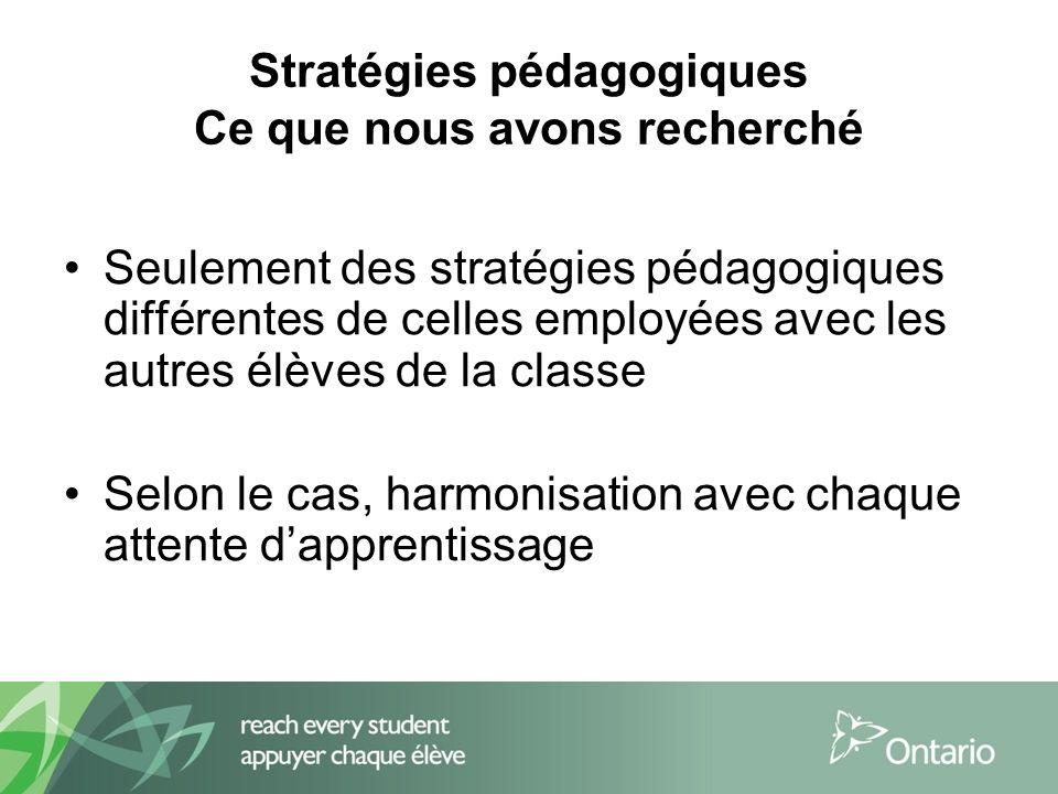 Stratégies pédagogiques Ce que nous avons recherché Seulement des stratégies pédagogiques différentes de celles employées avec les autres élèves de la classe Selon le cas, harmonisation avec chaque attente dapprentissage