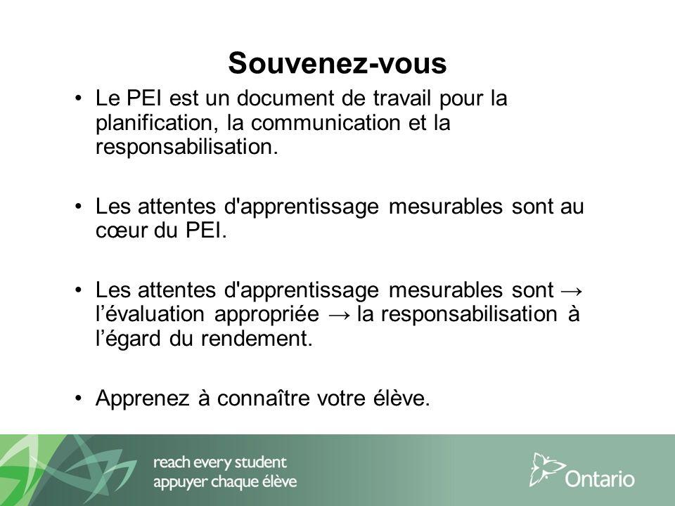 Souvenez-vous Le PEI est un document de travail pour la planification, la communication et la responsabilisation.