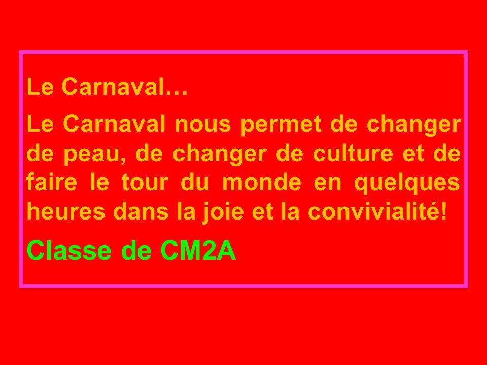 Le Carnaval… Le Carnaval nous permet de changer de peau, de changer de culture et de faire le tour du monde en quelques heures dans la joie et la convivialité.