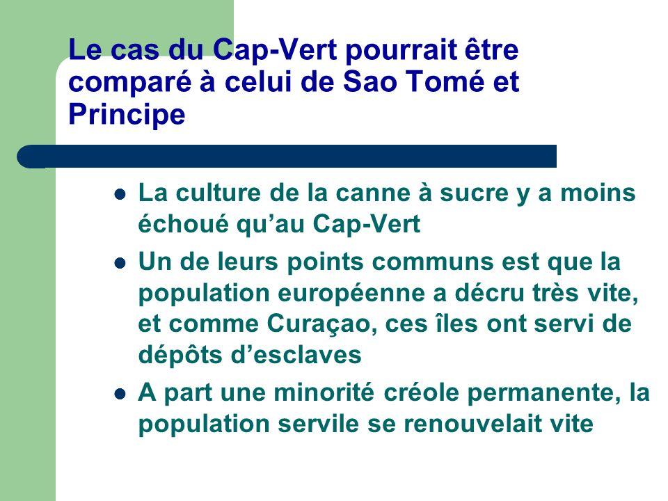 Le cas du Cap-Vert pourrait être comparé à celui de Sao Tomé et Principe La culture de la canne à sucre y a moins échoué quau Cap-Vert Un de leurs poi