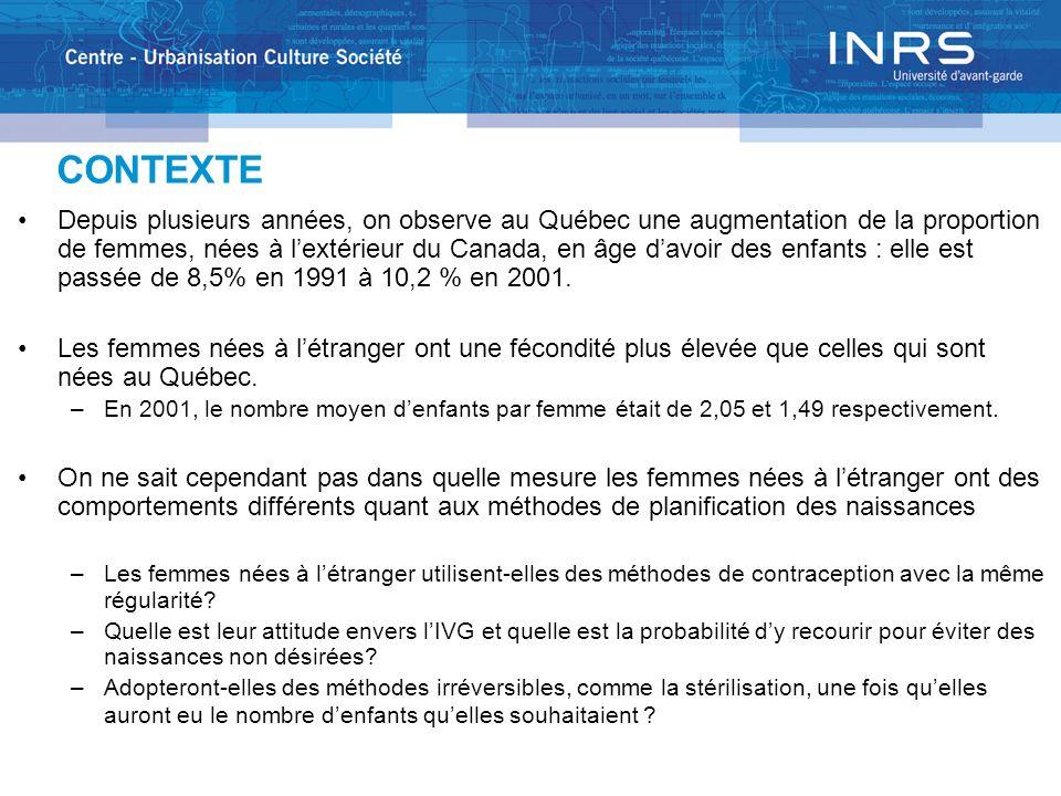 CONTEXTE Depuis plusieurs années, on observe au Québec une augmentation de la proportion de femmes, nées à lextérieur du Canada, en âge davoir des enfants : elle est passée de 8,5% en 1991 à 10,2 % en 2001.